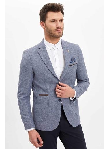 DeFacto Modern Fit Blazer Ceket Mavi